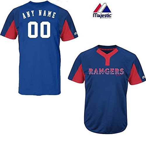 3206ee471 CUSTOM Adult XL Texas Rangers 2-Button Placket Cool-Base MLB Licensed Jersey